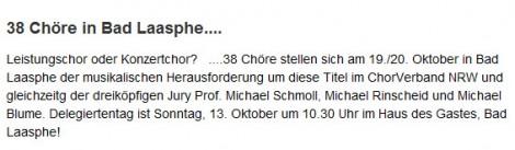 Beitrag auf dem Website des Chorverbandes NRW